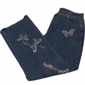 DENIM 24/7 Embroidered Rhinestone Butterfly Jean